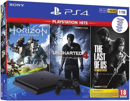 SONY CONSOLE SONY PS4 1TB + HORIZON ZERO DAWN + THE LAST OF US + UNCHARTED 4