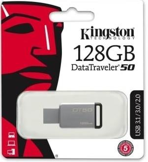 KINGSTON PENDRIVE KINGSTON DT50/128GB 3.0 USB SILVER